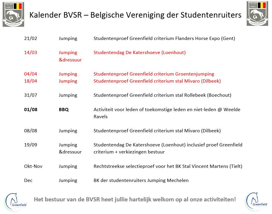 Criterium Belgische studentenruiters